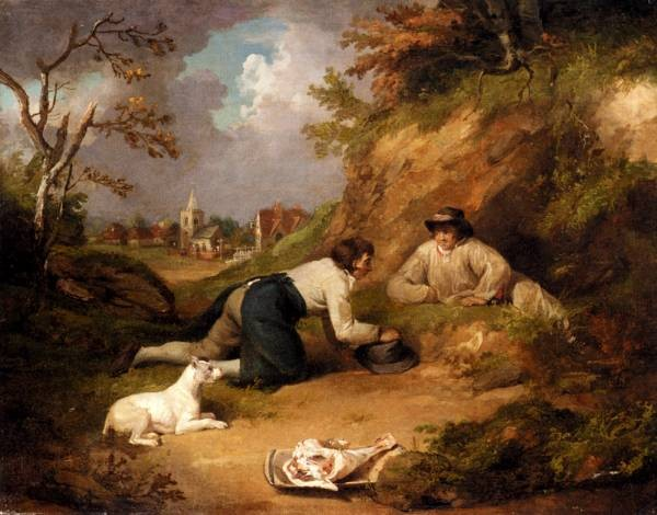 Two Men Hunting Rabbits With Their Dog A Village Beyond